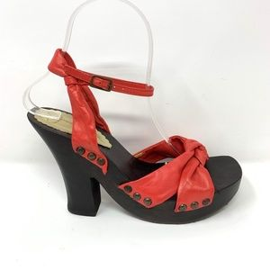 Jessica Simpson Square Toe Heels Size 7.5 Red